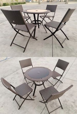 """New in box 5 pcs wicker 32 inch diameter table and folding chair set seat height 17 inches fits 2"""" umbrella poles brown color for Sale in Whittier, CA"""