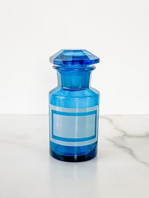 Vintage Blue Apothecary Glass Bottle with Stopper for Sale in San Diego, CA