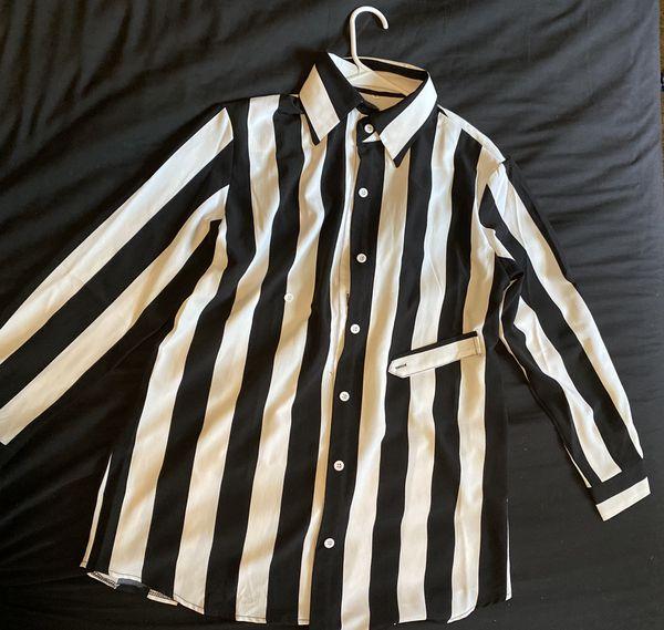 Loose wide oversized blouse shirt t-shirt tunic hem blouse top tee striped print black and white stripes long sleeve long blouse