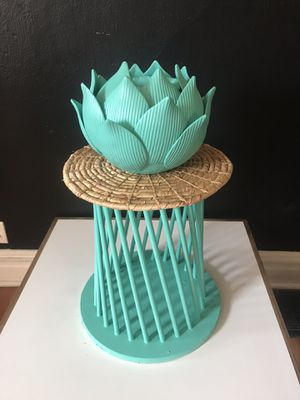 Beautiful Mint Melon Turquoise Lotus Flower Plant stand- great for a single succulent of vining plant - for Sale in St. Louis, MO