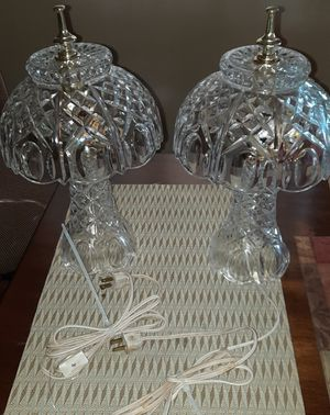 Pair of Vintage Crystal Glass Table Lamps for Sale in Gaithersburg, MD