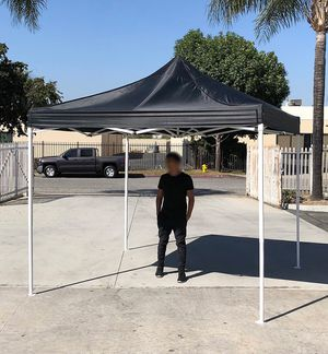 (NEW) $90 Black 10x10 Ft Outdoor Ez Pop Up Wedding Party Tent Patio Canopy Sunshade Shelter w/ Bag for Sale in Whittier, CA
