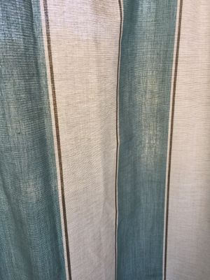 "Set of 6 Stripe Drapes White and Soft Teal 55""W x84""L 10$ For one for Sale in Suffolk, VA"