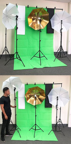 $80 NEW Photo Set Studio Kit w/ Backdrop Stand, 3x Muslin Cloth, 3x Umbrella Lighting and Bulbs for Sale in Pico Rivera, CA