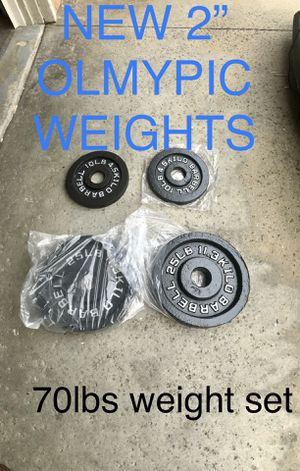 """NEW Olympic weights 2"""" 25lbs and 10lbs pair iron plates home gym for Sale in Fullerton, CA"""