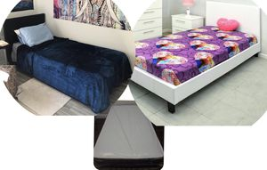 New black or white twin platform bed frame with mattress. Delivery for Sale in Fort Lauderdale, FL