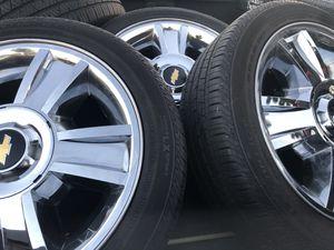 "20"" Chevy Silverado OEM stock wheels n tires $900 *no low ballers* Tahoe suburban gmc for Sale in Huntington Beach, CA"