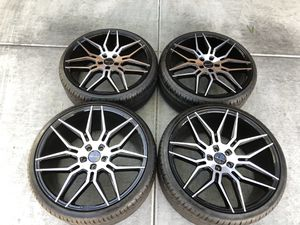 """22"""" Mercedes E class S class s550 AMG Audi 22"""" 5x112 staggered Giovanna Black Custom 22"""" wheels and tires. Will fit any Mercedes or Audi for Sale in Jean, NV"""