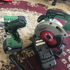 Hitachi 18 Volt Circular Saw And Impact Driver Battery And Charger Tested Working Great for Sale in Union City, CA