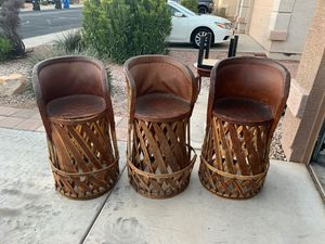 Three wooden bar stools for Sale in Surprise, AZ