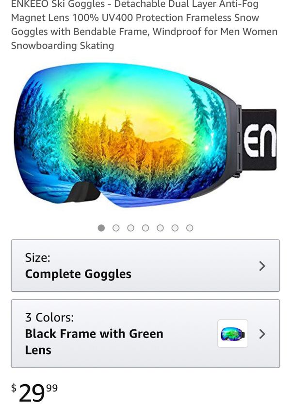 f82394d1bbc ENKEEO Ski Goggles - Detachable Dual Layer Anti-Fog Magnet Lens 100 ...
