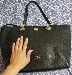 NWT Coach Black Pebble Leather Turnlock Tote 2 Purse for Sale in Ontario, CA