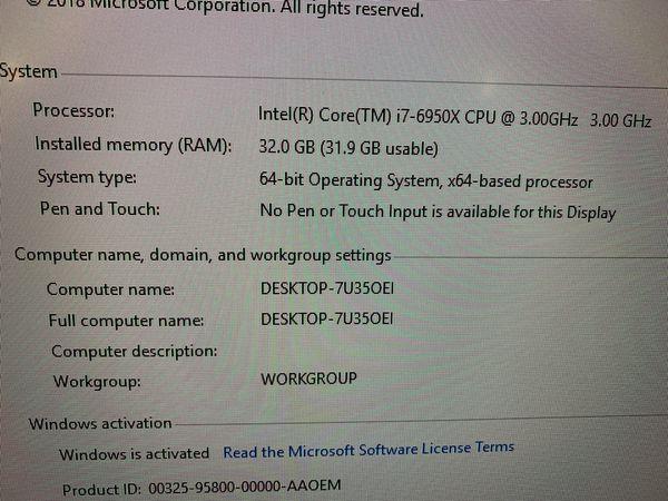 Custom Built Gaming Computer i7 6950X, 32GB, SSD +NVidia GTX 1080