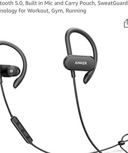 Anker SoundBuds Curve Bluetooth Headphone Waterproof Built-In Mic With Carry Pouch for Sale in Bellevue,  WA