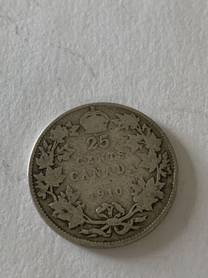 Canada silver 1910 25 cents vf for Sale in Quincy, MA