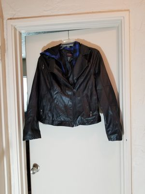 Torrid orphan black leather jacket with removable blue hoodie size 2 (plus size 20) for Sale in Tampa, FL