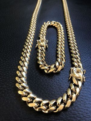 🔥14k gold 12mm Miami Cuban Link Chain & Bracelet set!! High Quality! HABLO ESPANOL! Will meet or deliver🚙💨 for Sale in Dallas, TX