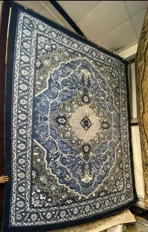 8x10 navy blue grey floral classic medallion design carpet thick pile high density non slide non shedding carpet for Sale in Los Angeles, CA