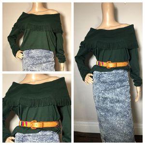 Vintage Green Fringe off shoulder sweater small for Sale in Cleveland, OH