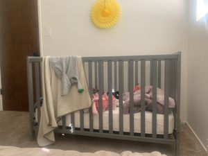 Grey wooden baby crib for Sale in Alameda, CA