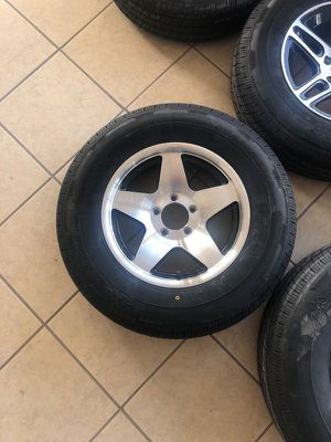 "Special Sale!! Aluminum trailer rim and radial tire. 15"" 5 lug - 205/75/15 - Trailer tire sale - we install for free - We carry all trailer tires for Sale in Plant City, FL"