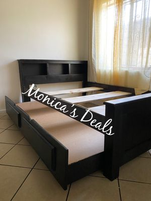 Full size solid wood bed & twin trundle bed frame $420 for Sale in Lynwood, CA