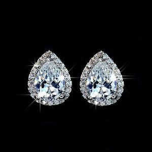 (FREE SHIPPING) Brand New White Sapphire Diamond Earrings Woman's Jewelry Wedding Band Pear Cut for Sale in PARK, PA