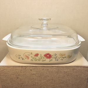 Vintage Corning Ware A-10-B Casserole Dish Wildflower Poppy with Glass Pyrex Lid for Sale in Milpitas, CA