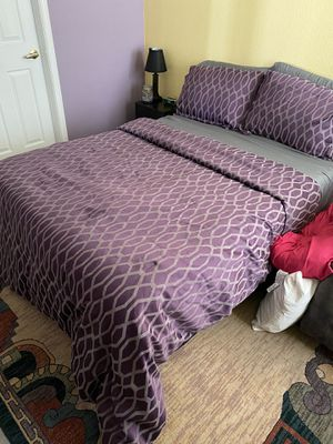 Full size frame, mattress and comforter set for Sale in Colorado Springs, CO