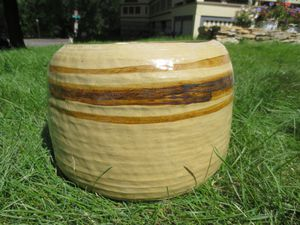 Stoneware brown striped flower pot for Sale in Saint Paul, MN