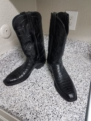Lucchese Caiman Cowboy Western Boots - Snip Toes, black ,size 10,Used. for Sale in Houston, TX