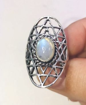 Natural fiery rainbow 🌈 Moonstone & .925 stamped sterling silver embellished ring size 8 NEW! for Sale in Carrollton, TX