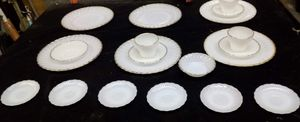 Anchor Hocking Fire King Ivory Swirl Milk Glass Dinnerware with Gold Rim for Sale in Sherwood, AR