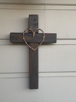 "Cross; Handcrafted; Solid Wood;  With Cooper Heart; 19"" X 12"" for Sale in La Puente, CA"