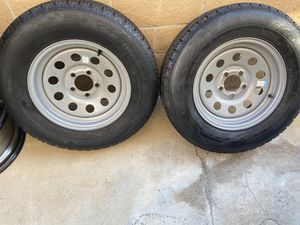 205/75R 15 off a hallmark cargo 20' trailer one trip to the desert like new lugs wheels and 5 tires $500 obo for Sale in Riverside, CA