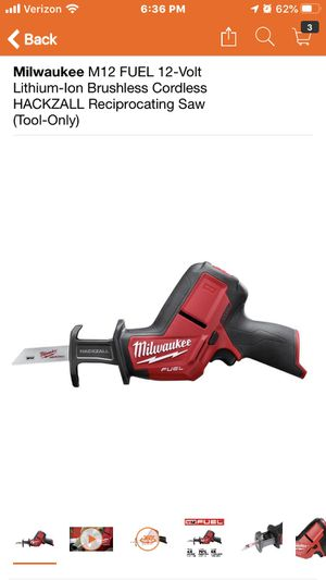 Milwaukee M12 FUEL 12-Volt Lithium-Ion Brushless Cordless HACKZALL Reciprocating Saw (Tool-Only) for Sale in Highland, CA