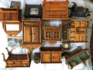 DOLLHOUSE ESTATE ANTIQUE vintage wood collection huge lot for Sale in Naperville, IL