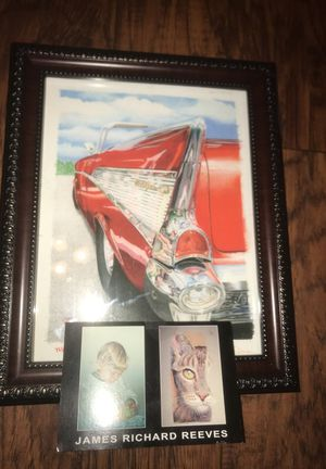 Original watercolor painting with frame of chevy bel air for Sale in Arlington, WA