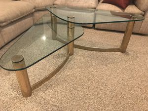 Glass and brass coffee table and end table for Sale in Berwyn, PA