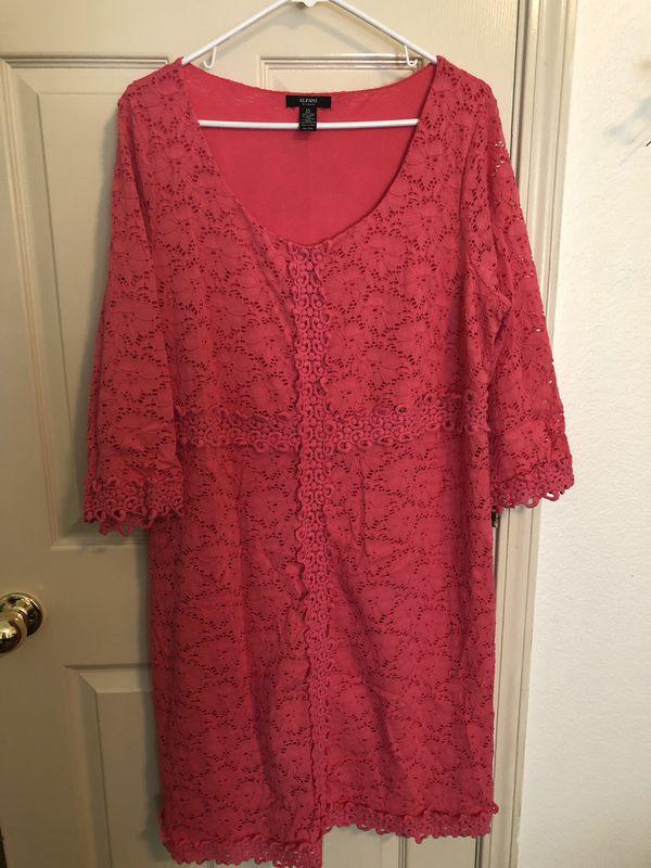 Women's Alfani lace dress 2X tangerine color