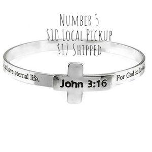 Beautiful New in Package John 3:16 Bible Verse Silver Tone Cross Bangle Bracelet Christian Inspirational for Sale in Troy, VA
