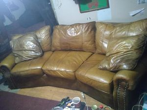 Norwalk 3 seater brown leather sofa for Sale in Gulfport, MS