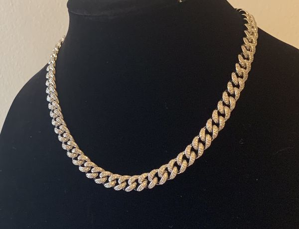 Men's hip hop choker necklace 10mm for 18inches ICED OUT MICRO PAVE LAB DIAMOND GOLD MIAMI CUBAN LINK CHAIN NECKLACE (STAINLESS Steel). (White gol