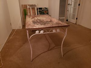 "62"" Antique White Dining Desk Table With Zebra Wood Top And White Metal Legs for Sale in West Hollywood, CA"