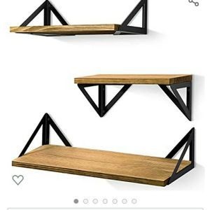 BAYKA Floating Shelves Wall Mounted, Rustic Wood Wall Shelves Set of 3 for Bedroom, Bathroom, Living Room, Kitchen (Toffee, Pine) for Sale in Seattle, WA