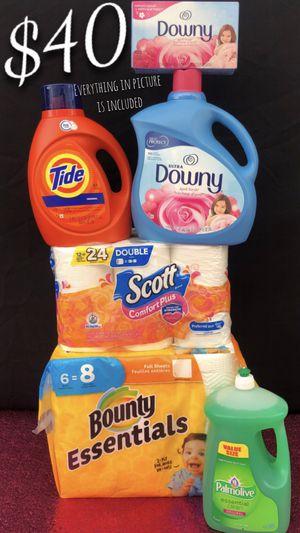 Tide Bundle. 105 Dryer Sheets. Tide Detergent 100oz. 64 Loads. Downy 129oz. 150 Loads. Dish Soap. 6 Rolls Paper Towels. 12 Rolls Toilet Paper 🧻 for Sale in Lynwood, CA