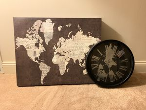 World canvas and world clock for Sale in Pittsburgh, PA