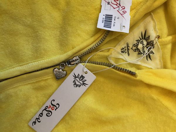 Girls Terry Cloth Yellow Hoodie Jacket sz 12 T2 Love Brand new with tags