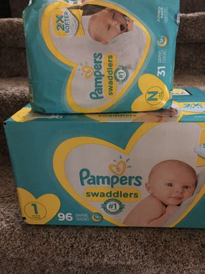 Baby Pampers (Diapers) Size NB & 1 for Sale in Round Rock, TX