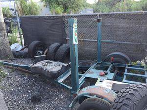 Home made trailer adjustable length make offer heavy duty for Sale in Davie, FL